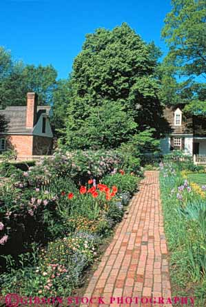 Stock Photo #6869: keywords -  brick colonial cultivate cultivated cultivating garden gardening gardens grow growing grown growth historic history landscape landscaped landscaping path plant plants residence residential spring summer tradition traditional vert virginia walk walkway williamsburg