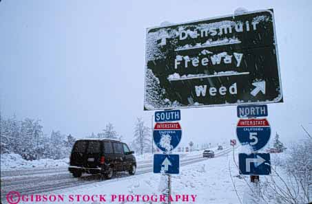 Stock Photo #7245: keywords -  california caution climate climatology cold danger dangerous five freeway freeze freezing frozen highway horz i ice icy interchange interstate limited mt nature obscure obscured precipitation ramp reduced risk risky road route season shasta sign signs slip slippery slow snow storm street traffic visibility weather winter