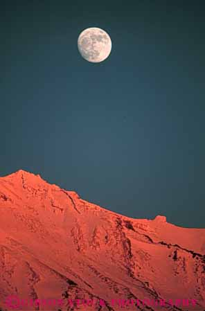 Stock Photo #7268: keywords -  alpenglow california celestial circle circular dawn dusk evening full moon morning mount mt night orange orbit round shasta sky snow sunset vert