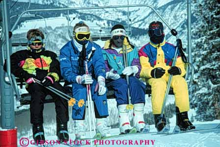 Stock Photo #5716: keywords -  chair chairs clothes clothing coat cold downhill equipment gloves goggles group hat high horz insulation jacket lift mask mountain outdoor outdoors outside parka portrait pose quad recreation resort season ski skier skiers skiing slope snow speed sport sports suit travel trip vacation warm winter