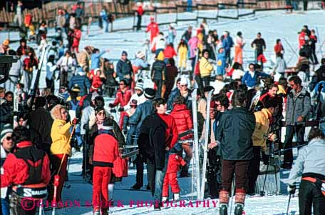 Stock Photo #5718: keywords -  cold crowd crowded downhill equipment group horz jammed lodge lots many outdoor outdoors outside recreation resort season ski skier skiers skiing snow sport sports travel trip vacation winter