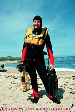 Stock Photo #5843: keywords -  adventure beach california coast dive diver divers diving insulate insulated insulating insulation monterey ocean protect protecting protection released risk scuba shore sport suit vert wetsuit woman