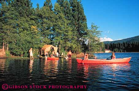 Stock Photo #5887: keywords -  adventure california camp camper camping canoe explore family horz lake mount outdoor outdoors outside recreation released shasta siskiyou sport summer swim tent travel trip vacation water