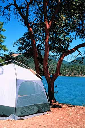 Stock Photo #5892: keywords -  adventure applegate camp camper camping explore lake manzanita oregon outdoor outdoors outside recreation sport summer tent travel trip vacation vert water