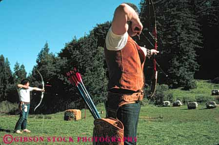 Stock Photo #6196: keywords -  aim archer archery arrow horz men practice recreation shoot sport sports target