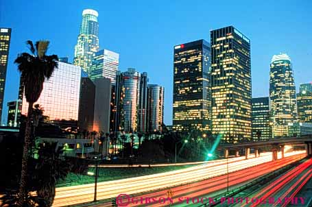 Stock Photo #3326: keywords -  angeles building california city cityscape downtown dusk horz lighting los night skyline traffic