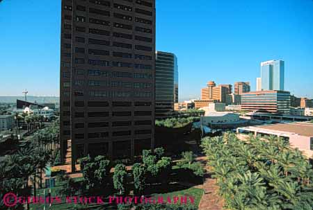 Stock Photo #7486: keywords -  america american architecture arizona building buildings business center cities city cityscape cityscapes downtown horz modern new office phoenix skyline skylines southwest urban usa west