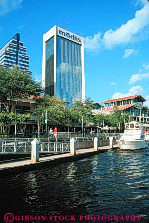 Stock Photo #7518: keywords -  america american architecture boat boatcs building buildings business center cities city cityscape cityscapes downtown florida jacksonville johns modern new office river riverfront riverwalk skyline skylines st urban usa vert