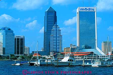 Stock Photo #7520: keywords -  america american architecture boat boating boats building buildings business center cities city cityscape cityscapes dock downtown florida horz jacksonville johns marina modern new office river riverfront skyline skylines st urban usa