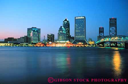 Stock Photo #7522: keywords -  america american architecture building buildings business center cities city cityscape cityscapes downtown florida horz jacksonville johns light lighting lights modern new night office reflect reflection reflects river riverfront skyline skylines st urban usa