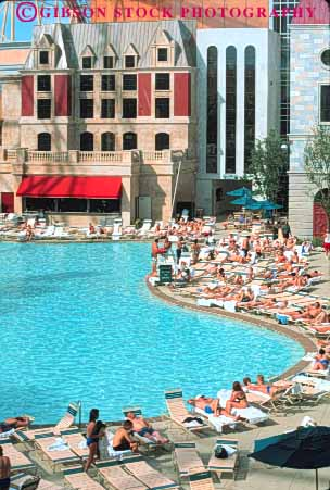 people swimming pool New York New York Hotel Las Vegas Nevada Stock