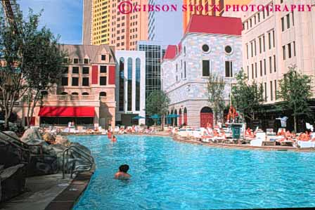 People Swimming Pool New York New York Hotel Las Vegas Nevada Stock Photo 8157