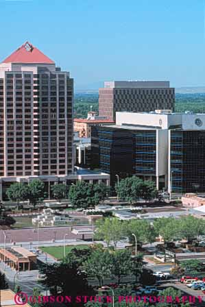 Stock Photo #7536: keywords -  albuquerque america american architecture building buildings business center cities city cityscape cityscapes downtown mexico modern new office skyline skylines urban usa vert west