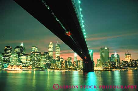 Stock Photo #7573: keywords -  america american architecture bridge brooklyn building buildings business center cities city cityscape cityscapes downtown horz light lights modern new night office skyline skylines urban usa york