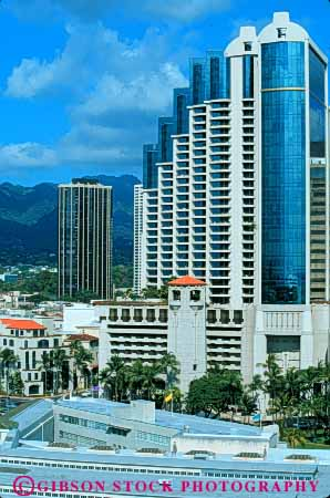 Stock Photo #7580: keywords -  america american architecture building buildings business center cities city cityscape cityscapes downtown hawaii honolulu modern new oahu office skyline skylines tropical urban usa vert