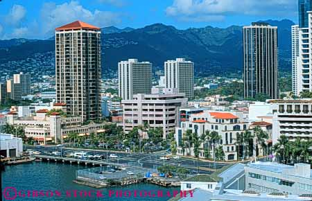 Stock Photo #7583: keywords -  america american architecture building buildings business center cities city cityscape cityscapes downtown hawaii honolulu horz modern new oahu office skyline skylines tropical urban usa