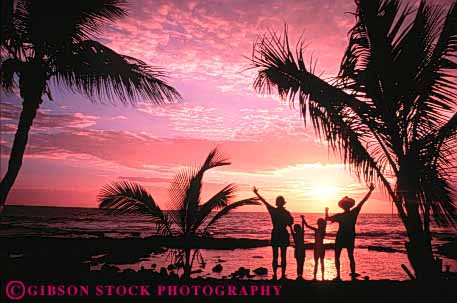 Stock Photo #3557: keywords -  children family hawaii horz husband ocean orange pink released silhouette summer sunset travel tropical vacation warm wife