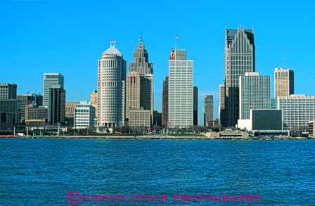 Stock Photo #7587: keywords -  america american architecture building buildings business center cities city cityscape cityscapes detroit downtown horz michigan modern new office river skyline skylines urban usa