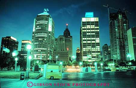 Stock Photo #7590: keywords -  america american architecture building buildings business center cities city cityscape cityscapes detroit downtown hart horz lights michigan modern new night office plaza skyline skylines urban usa