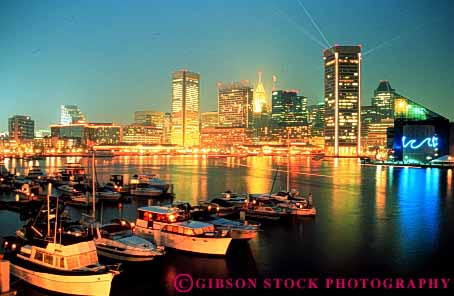 Stock Photo #3320: keywords -  baltimore bright building city cityscape downtown dusk harbor horz lighting maryland night skyline
