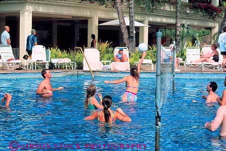 Hotel pool with people  Grand Wailea Resort pool volleyball Maui Hawaii Stock Photo 13539