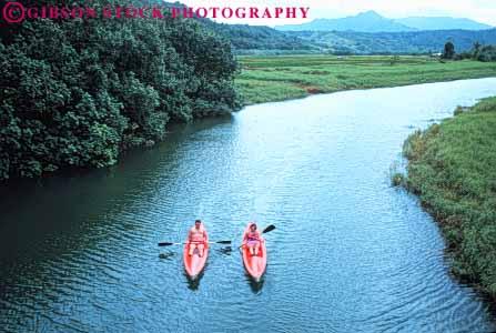 couple kayaking Hanalei River Kauai Hawaii Stock Photo 8700