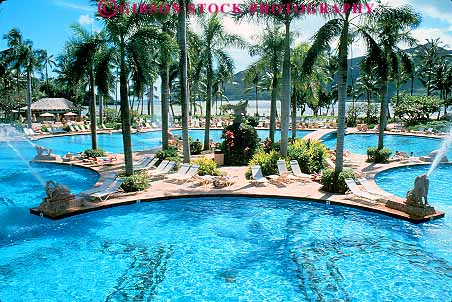 Hotel pool with people  Marriott Hotel pool Lihue Kauai Hawaii Stock Photo 14987