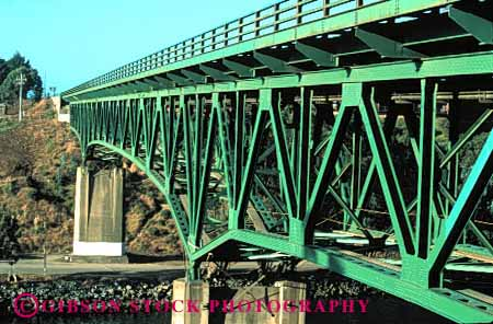 Stock Photo #1232: keywords -  angle brace braced braces bragg bridge bridges california cross design diagonal diagonally diagonals engineer engineered engineering fort geometric geometry green horz metal noyo over river span steel stress strong structure triangle triangles triangular water
