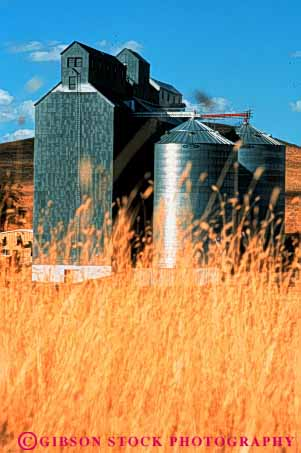 Stock Photo #3304: keywords -  agriculture angles angular building buildings dufur elevator elevators farm field geometric grain metal oregon round silo silos steel storage vert wheat