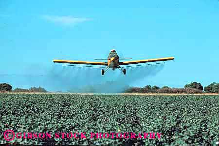 Stock Photo #1291: keywords -  agriculture airplane california cotton crop danger dust environment equipment farm field fly grow hazard horz industry job machine pesticide poison pollution risk riverdale spray work