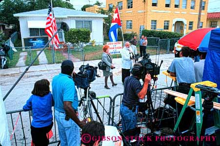 Stock Photo #1308: keywords -  about antenna antonio broadcast camera cameramen cameras communications coverage crew crews elian extendible film florida gonzalez gordon havana horz in information little media miami mobile network news remote report speaks team teams technology telescope television unit