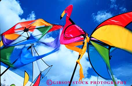 Stock Photo #6077: keywords -  action air banners blow blur color colorful dynamic flag fly horz motion movement pinwheel sky socks spin wind