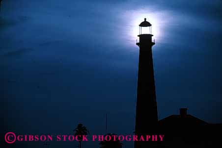 Stock Photo #1371: keywords -  beam bright building direction galveston guidance horz lighthouse lighthouses safety silhouette silhouettes sun tall texas warn