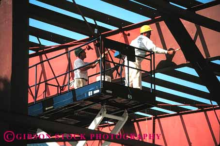 Stock Photo #1384: keywords -  art beam brush building construction cooperate craft elevate employee equipment extend frame horz industry job labor lift machine men metal new occupation paint painter paycheck reach scissor skill steel summer team white work