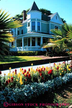Stock Photo #6068: keywords -  architecture beach building colorful design fernandina flower flowers garden historic home house landscape neighbor neighborhood old plants residence residential snapdragon tradition traditional vert victorian