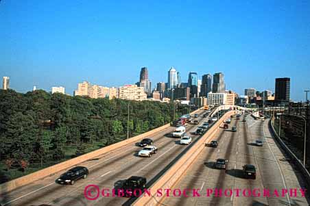 Stock Photo #1479: keywords -  auto car city commute drive freeway highway horz interstate move pavement pennsylvania philadelphia road street suburb traffic transportation truck vehicle