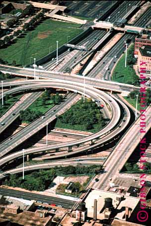 Stock Photo #1481: keywords -  aerial auto car chicago city commute drive freeway highway illinois interchange interstate move pavement road street suburb traffic transportation truck vehicle vert
