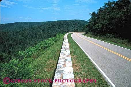 Stock Photo #1501: keywords -  curve dangerous horz mountain national park pavement remote retaining risk road rock rural scenic shenandoah solitary virginia wild winding