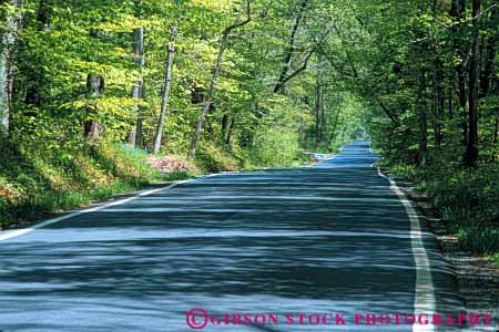 Stock Photo #6063: keywords -  alone corridor countryside forest green highway horz in isolated open pavement quiet road route rural street summer tree trees virginia