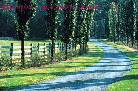 Stock Photo #1520: keywords -  country countryside curve farm foliage gravel green horz jersey landscape new path ranch remote road rough route rural scenic