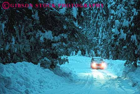 Stock Photo #1524: keywords -  alone california car cold country countryside danger dim dusk horz landscape lights low reduced remote risk road route rural slippery snow storm street visibility winter