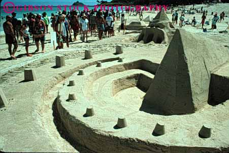 Stock Photo #1539: keywords -  architecture beach castle craft create design hawaii horz modern pyramid sand sculpture temporary