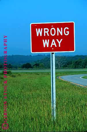 Stock Photo #1549: keywords -  around back caution driving highway mistake red road safety sign square street traffic turn vert warning way wrong