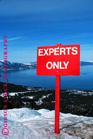 Stock Photo #1560: keywords -  california danger e experts injury lake only red risk sign ski skill slope snow steep tahoe vert warning winter