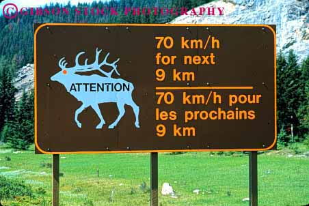 Stock Photo #1563: keywords -  bilingual canada communicate english french highway horz kilometers language sign symbol traffic translate warning wildlife