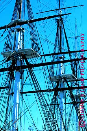 Stock Photo #1581: keywords -  americana boat boston constitution geometric geometry historic line mast rig rigging rope sail ship square uss vert wood