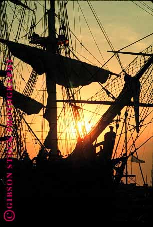 Stock Photo #1582: keywords -  boat bounty dusk historic replica rig sail ship silouette square sunset vert wood