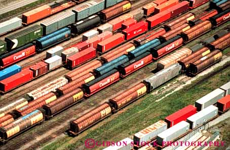 Stock Photo #3400: keywords -  aerial british bulk cargo columbia commerce freight horz industry railroad shipping train transportation vancouver yard