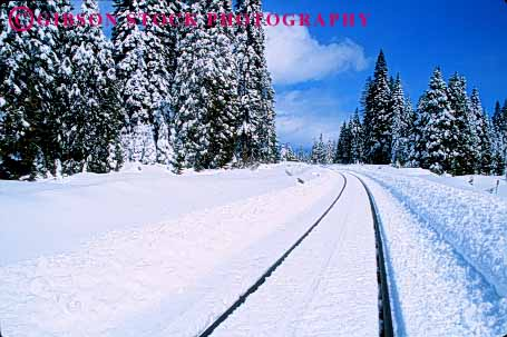 Stock Photo #1616: keywords -  horz industry parallel railroad scenic shipping snow tracks train transportation weather winter