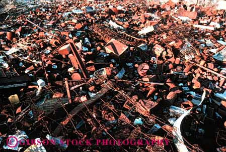 Stock Photo #1632: keywords -  debris ground horz litter metal pollution refuse rubbish trash waste